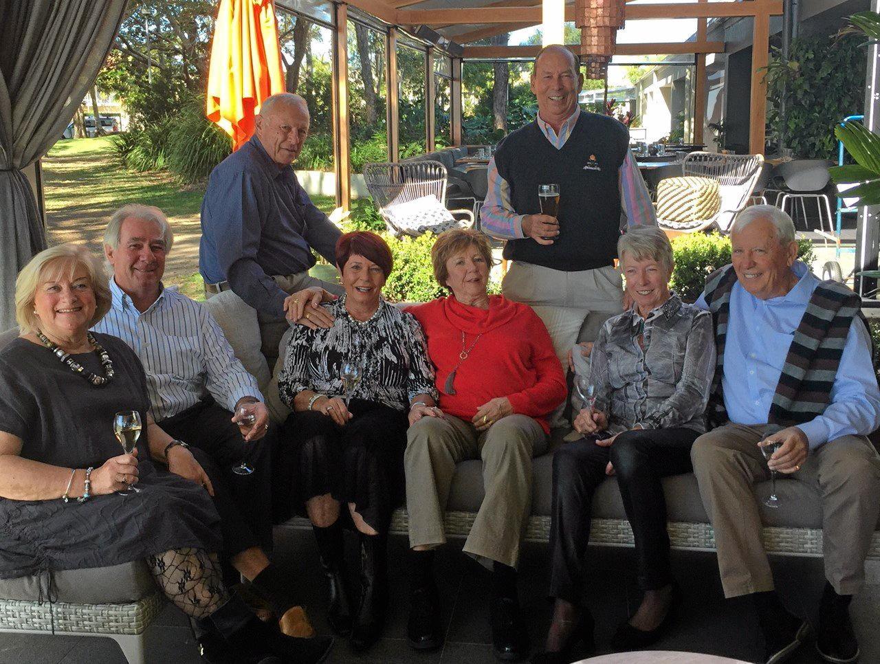 Left to right: Sheila Mason, Peter Mason, Guy Wannop, Sheelagh Wannop, Jeni Webb,Tim Webb, Wendy Ruttan, Doug Ruttan.