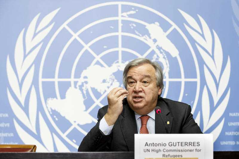 United Nations High Commissioner for Refugees, UNHCR, Portuguese Antonio Manuel de Oliveira Guterres, speaks to the media during a press conference at the European headquarters of the United Nations in Geneva, Switzerland, Friday Dec. 18, 2015.