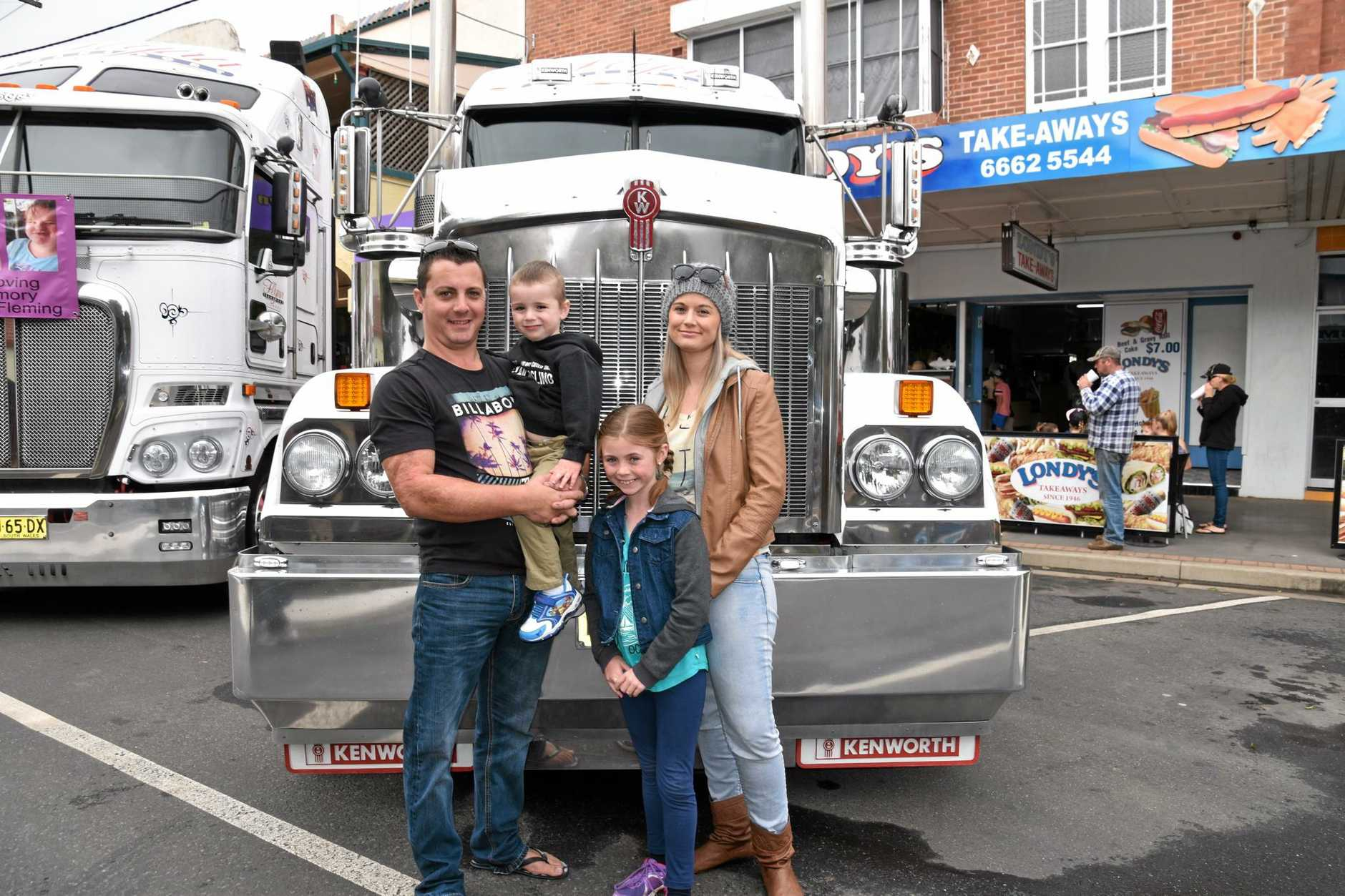 Todd and Chauntelle Wallace with Imogen, 8 and Taavi, 3 from Ballina at the Casino Truck Show