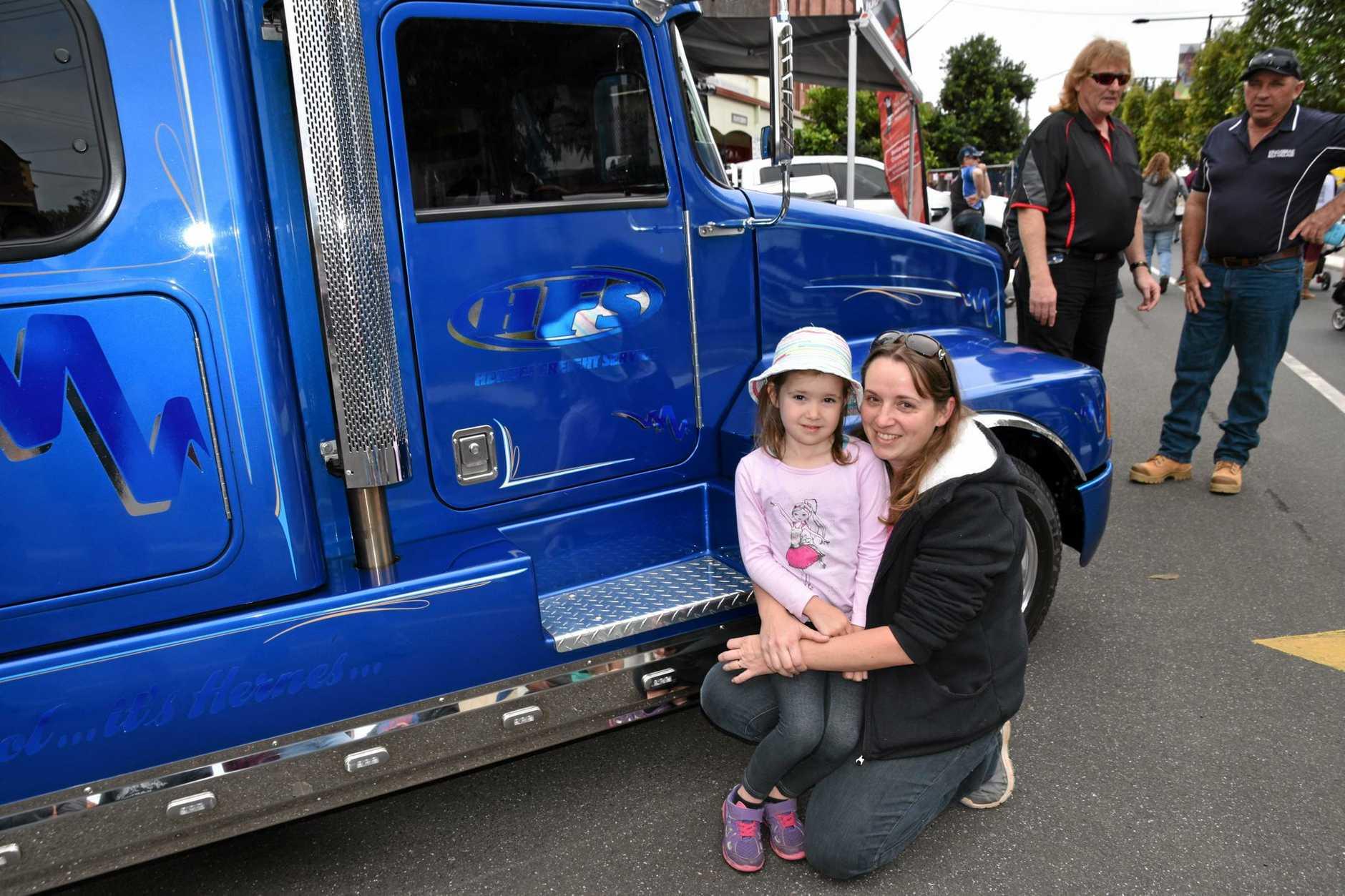 Madi Hayes, 5 and mum Karen of Goonellabah at the Casino Truck Show
