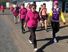STRIDES AHEAD: Cr Cheryl Gaedtke (left) begins the 12km leg of the Lowood Slimmers Walkathon at Lowood Showgrounds.