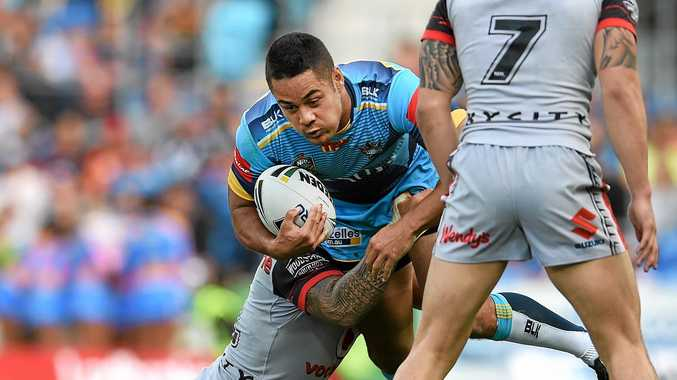 HE'S BACK: Jarryd Hayne gave more than 25,000 fans a display of what is to come in his first NRL game in more than 700 days.