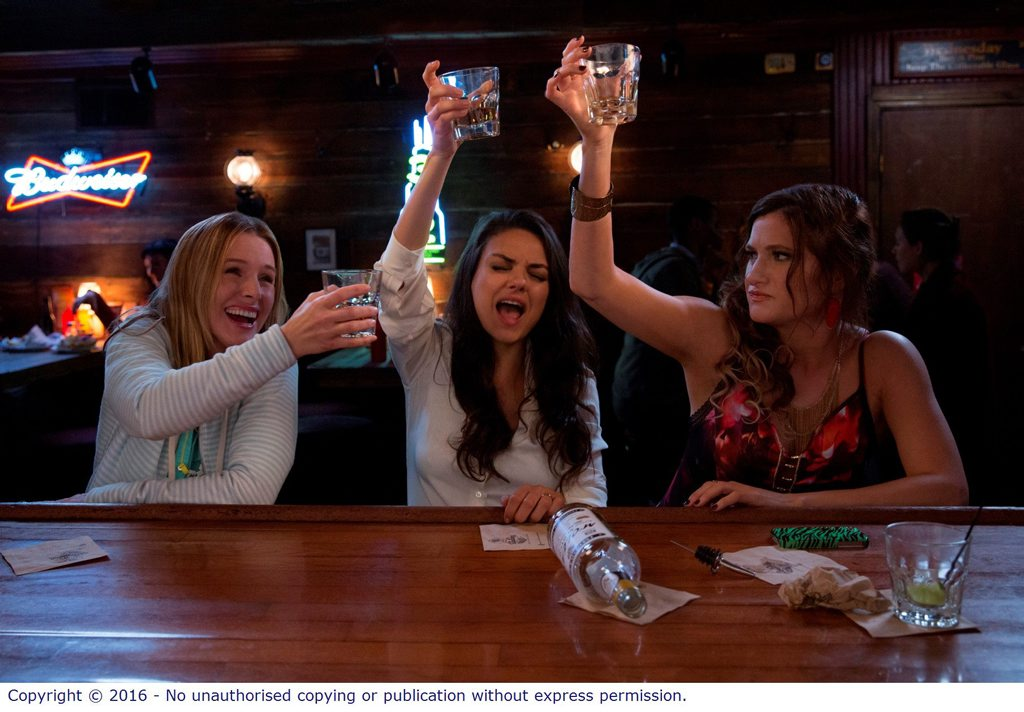 Kristen Bell, Mila Kunis, and Kathryn Hahn in a scene from Bad Moms.