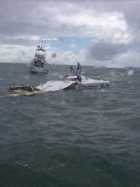 Presley Andrew posted of Facebook what was left of a superboat after a high speed crash during Photo: Contributed