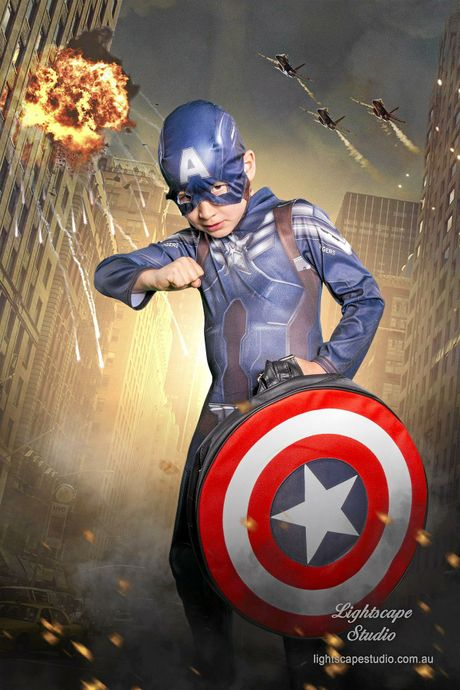 DRESSED UP: Darcy Lewis poses as his favourite superhero Captain America.