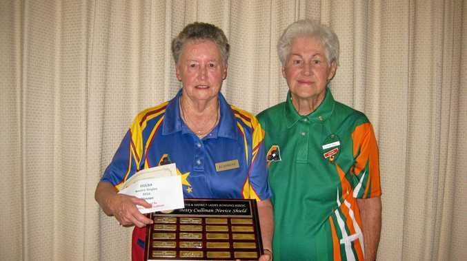 TROPHY HOLDER: Winner of the Betty Cullinan Shield is Di Diment (left) from Drayton with Darling Downs Ladies Bowls Association president Elsie Voll.