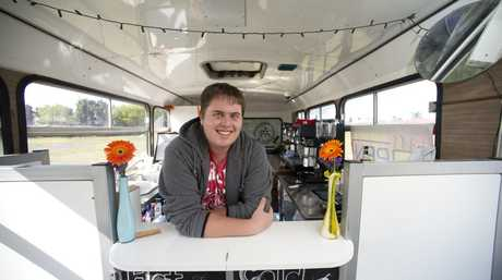 University student Sam Newton has turned a bus into a coffee shop, Tuesday, September 23, 2014. Photo Kevin Farmer / The Chronicle