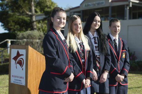 Year 12 students (from left) school captain Briannah Barton, school captain Emily Nelson, house captain Bella Kajewski and vice captain Broc Lucht at Toowoomba State High School Wilsonton campus.