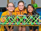 YOUNG INNOVATORS: Alison Clayton, 13, Sazha Maquez, 12, and Rhyanna Veber, 13, from Gladstone State High at the 2016 Aurecon Bridge Building Competition.