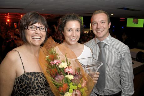 SPORT STAR: Emilee Cherry (centre) with her mum Laurie Cherry and brother Rian after Emilee won the 2011 Sports Darling Downs Senior Sport Star of the Year award primarily for her touch football success.