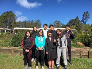 Eight Korean students prepare to say 'annyeong'