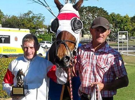 BEVAN OF GLORY: Jockey Scott Sheargold and trainer Bevan Johnson with Gladstone Newmarket winner Blue Jest.