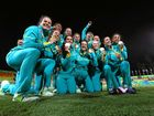 TOO TOUGH: The Australian women's rugby sevens team celebrates its gold medal win over New Zealand.