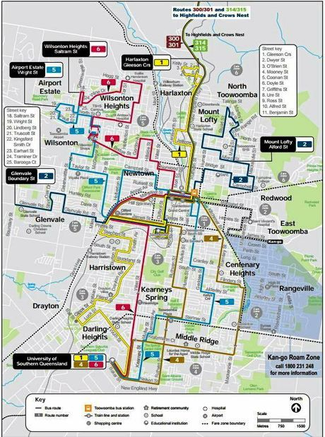 Bus routes in Toowoomba.