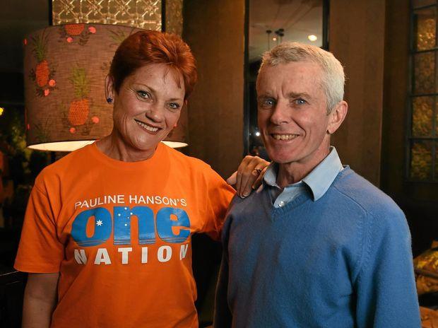 One Nation's Pauline Hanson with Senator Malcolm Roberts in Ipswich.