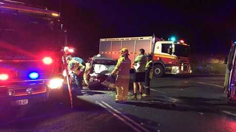 Emergency services at the scene of a two-vehicle crash at Gowrie Mountain Tuesday night.