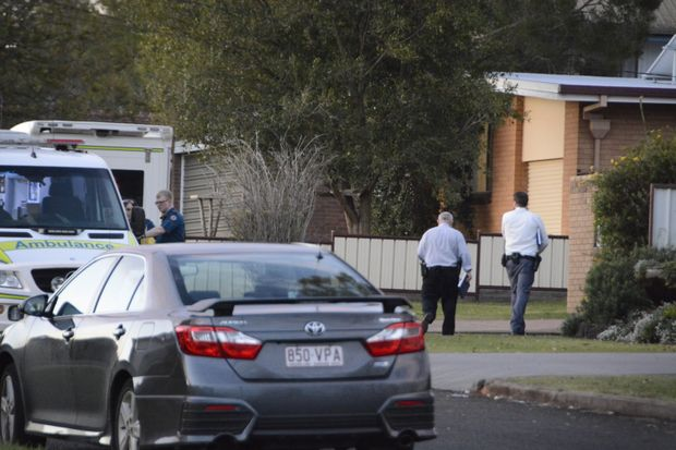 Detectives arrive at the Rangeville home this afternoon where a man was found with head injuries.