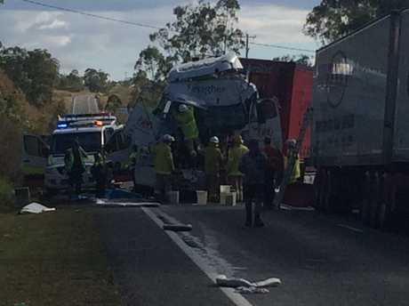Two trucks have crashed on the Bruce Hwy, leaving the highway closed between Benaraby and Calliope.