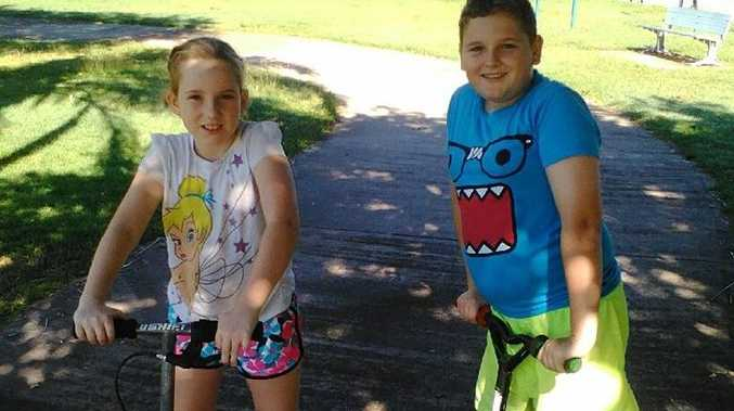 Mackay kids Chelsea Morris and Tyler Morris were lucky to escape a car crash unharmed.