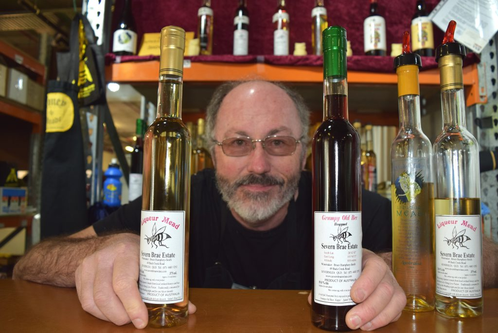Severnlea honey mead maker Bruce Humphery-Smith had his product at Brisbane's Ekka.Photo Pamela Frost