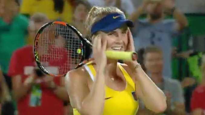 Ukrainian Elina Svitolina celebrates defeating Serena Williams.