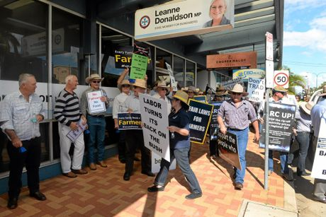 FAIR LAWS: Farmers march on Minister for Agriculture Leanne Donaldsons office in Bundaberg.