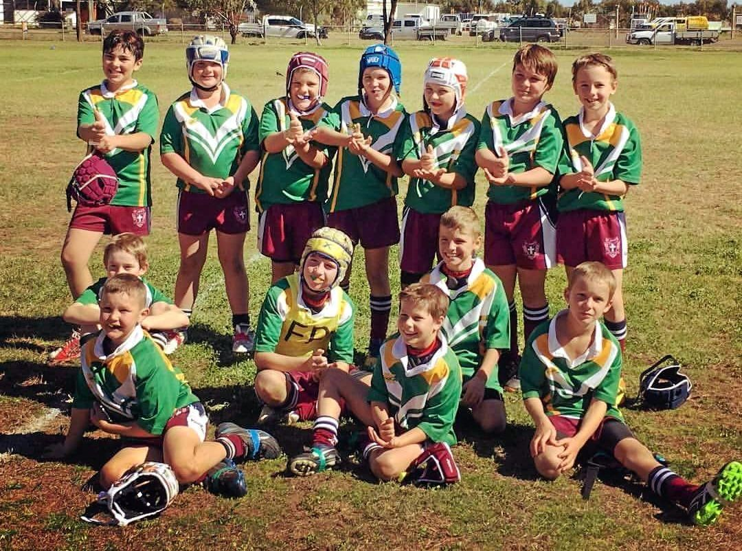 LEAGUE STARS: Grant Lorenz's under-10s rugby league side St John's Maroon/Injune have the chance to go undefeated when they face Mitchell on Saturday.