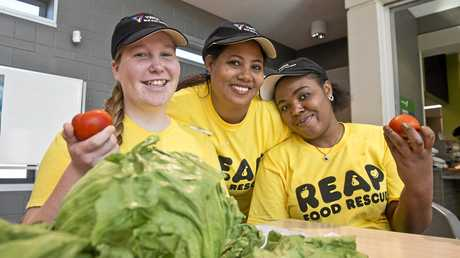FOOD REWARDS: Volunteers behind the new REAP program launching in Toowoomba today (from left) Bronwyn Rasmussen, Mehret Fikak and Veronique Kalenga are learning new skills.