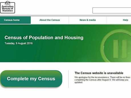 The Australian Bureau of Statistics website at noon the day after the failed Census.