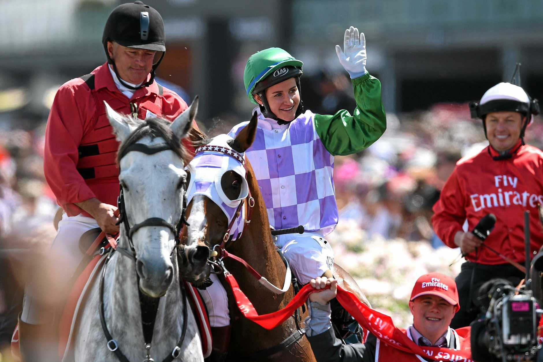 Prince of Penzance, ridden by Michelle Payne, after winning the Melbourne Cup at Flemington Racecourse.