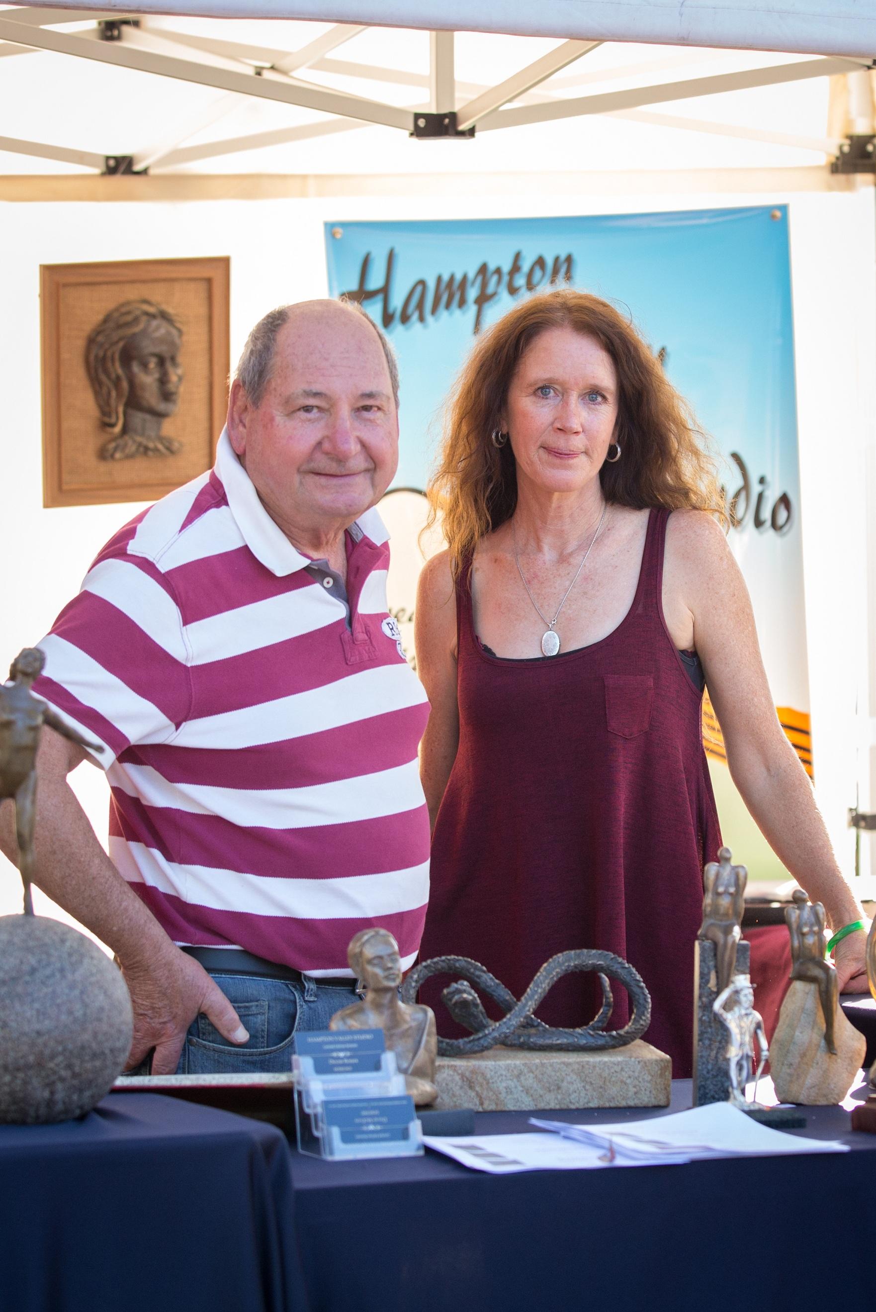 Hampton Valley Studio owner David McEvoy with sculptor Denise Rosser.