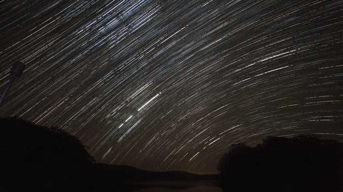 Sunshine Coast photographer Nicola Brander captured the effects of a meteor shower at Cooloolabin Dam, Photo Nicola Brander