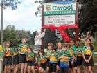 OPEN DAY: The students and staff of Carool Public school celebrate the opening of their new school sign.
