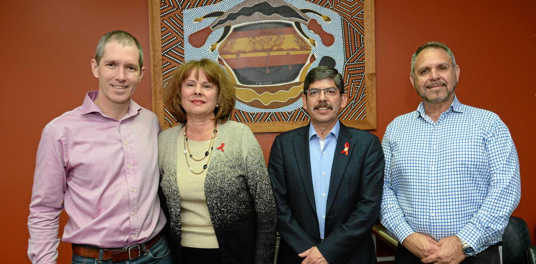 HIV TESTING: New approaches to HIV treatment and its prevention speakers Dr Andrew Redmond, Irene Day, Dr Rolando Barrios and A/Prof James Ward.Photo Allan Reinikka / The Morning Bulletin