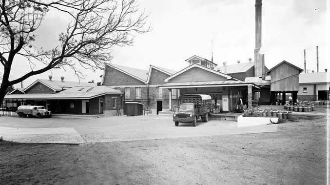 Queensland Farmers' Co-operative Dairy Association building - also known at the Booval Butter Factory - November 1955.
