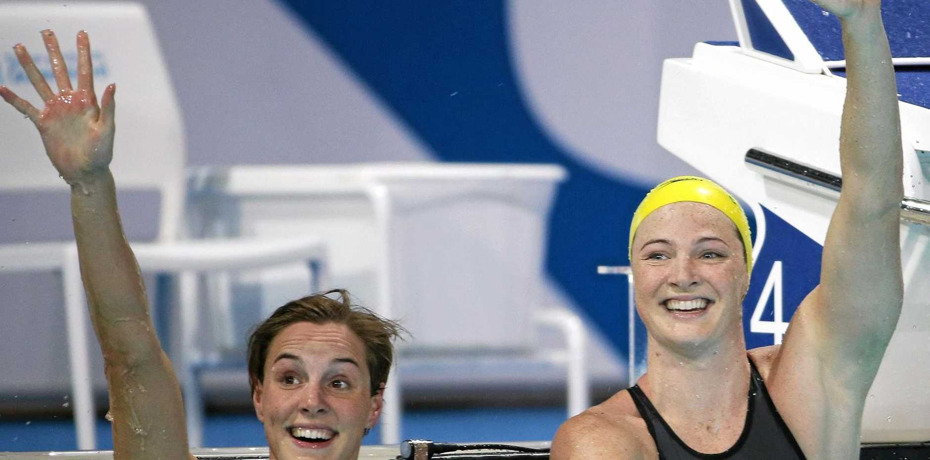 Sisters Cate, right, and Bronte Campbell both qualified for the 100m freestyle semi-finals.