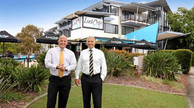 CBRE Sunshine Coast director Tony Justo (left) after the record breaking sale of Kawana House at Birtinya
