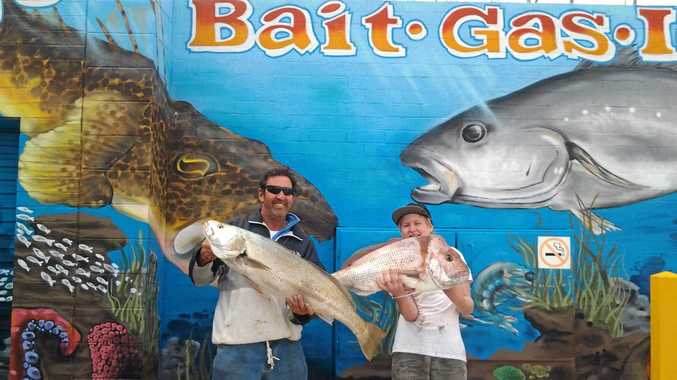 GENERATIONAL CATCH: Father and son duo, Stephen and Tahj Byrne, both pulled in massive catches as they fished together off Brooms Head last weekend. Stephen's 10.85kg mulloway and Tahj's 9.75kg snapper that they weighed in at The Bait Place in Yamba, landed both fishers on the weekly
