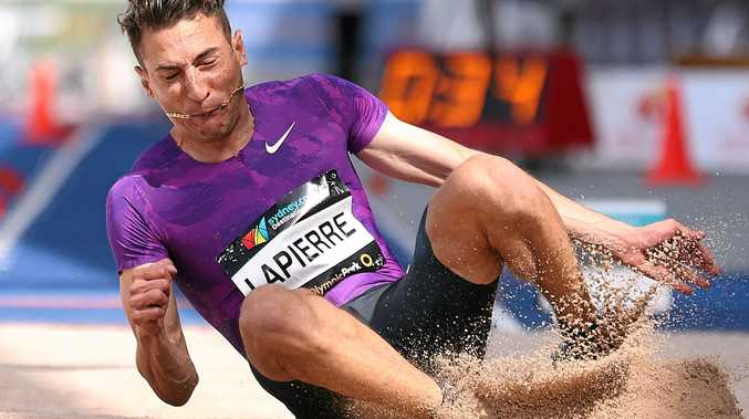 MEDAL HOPE: Fabrice Lapierre competes in the men's long jump competition during the Australian Athletics Championships in April.