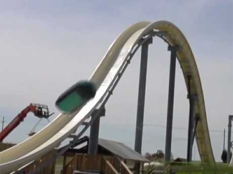 A still from the Travel Channel video showing testing of the Kansas City waterslide.