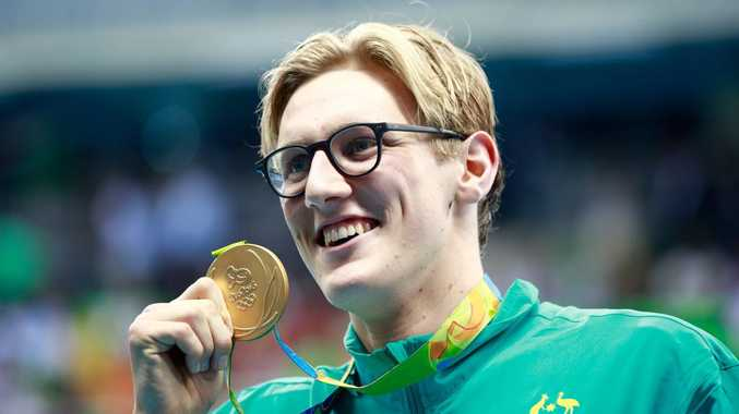 RIO DE JANEIRO, BRAZIL - AUGUST 06: Gold medalist Mack Horton of Australia poses during the medal ceremony for the Final of the Men's 400m Freestyle on Day 1 of the Rio 2016 Olympic Games at the Olympic Aquatics Stadium on August 6, 2016 in Rio de Janeiro, Brazil. (Photo by Adam Pretty/Getty Images)