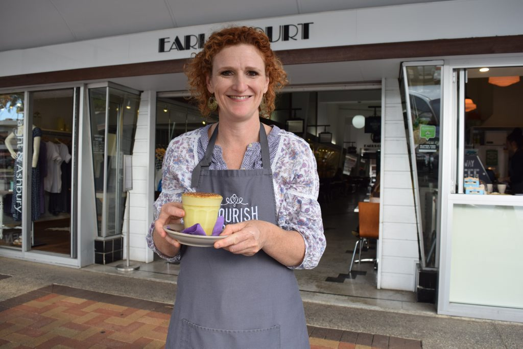 Judy Plath has introduced a range of hot drinks at Nourish including tumeric latte, berry rose latte and jaffa hot chocolate.