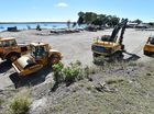 The new Burrum Heads boat ramp under construction - looking across the parking area.