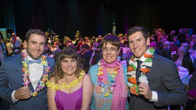 House Rules winners Luke (left) and Cody Cook with Kylie Coventry (left) and Glenda McDonald as the Endeavour Foundation host Ball for All at Empire Theatre's Armitage Centre, Saturday, August 6, 2016.