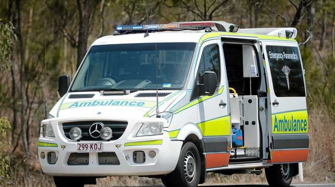 An ambulance is taking a man to Hervey Bay Hospital after he came off a motorcycle.