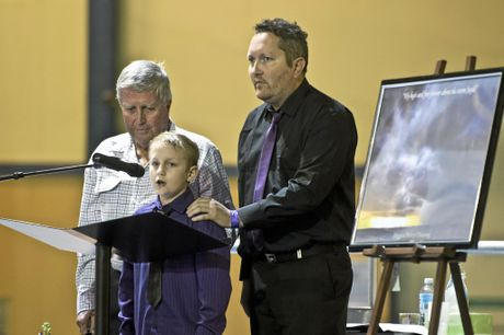 Jayde's brother Brandon Morrissey and father Bruce Morrissey. Memorial service for Jayde Kendall in Gatton. Thursday, Sep 17, 2015 .  Photo Nev Madsen / The Chronicle