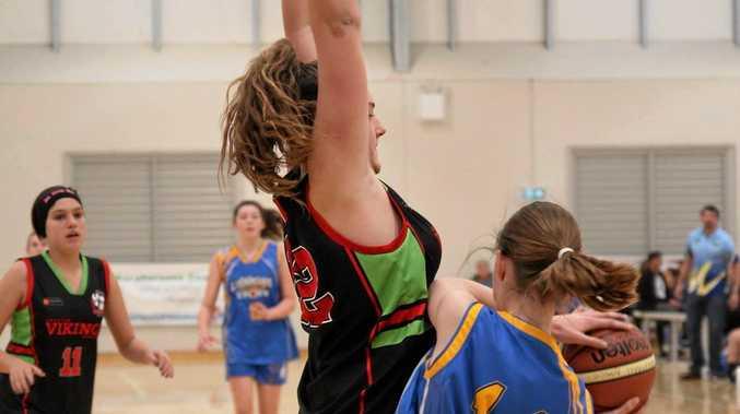 Grafton Vikings Under 16s centre Jade McDonogh gets in the face of a Lismore Storm attacker at Tamworth.
