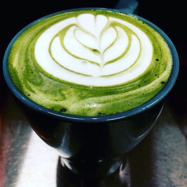 A green tea latte from Buzz Superfoods Bar.