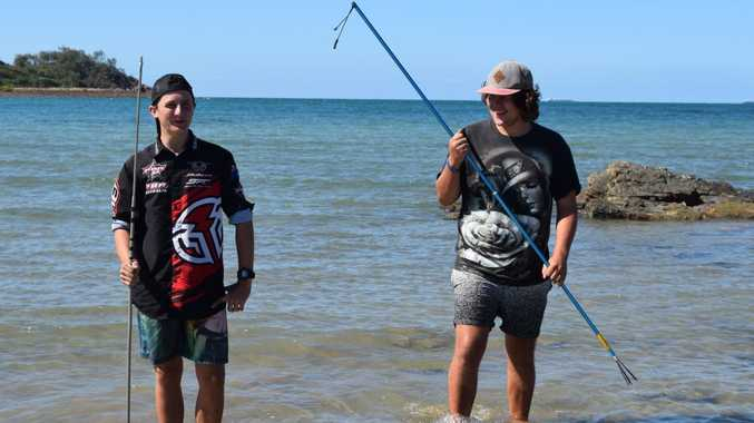 Dakotah Kramme and Beau Pullen, both 17, spend almost every night shark fishing at Hay Point, or as they call it 'Tiger Shark alley'.Photo: Emily Smith
