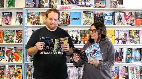 Mac's Comics owner Sean McGoldrick and shop assistant Marie Mour.